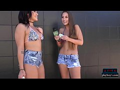 Amateur chicks ride a dildo balloon pump for money