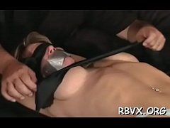 Busty sweetheart enjoys bondage