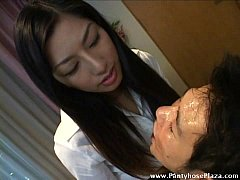 Licking gave slave a face-full of mistress' saliva