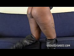 Thick Ebony Pours Oil On Her Big Tits and Big Black Ass