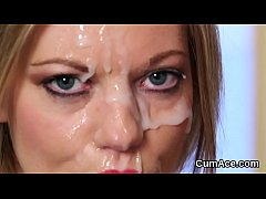 Spicy hottie gets sperm shot on her face gulping all the cream