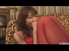 Dick hunch up meager and way back flee japan girl in red stockings on the couch