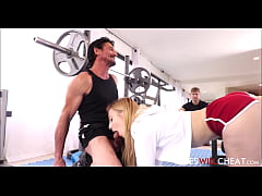 Hot Young Blonde Wife Cheats On Husband Right In Front Of Him With Trainer During Workout