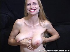 Naked jerk off teacher teases using her tits and ass