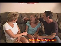 Milf and hubby fuck the babysitter!