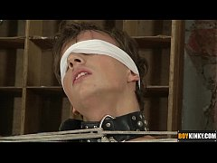 Sweet Casper is blindfolded and roped up